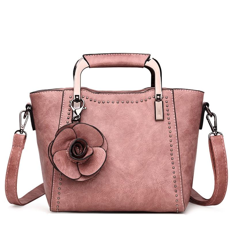 Leather Women Handbags Tote Bolsa Feminina Fashion Designer Flowers Shoulder Crossbody Bags Rivets Messenger Bags sac a main<br>