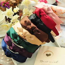 8 Pcs/lot Plain Satin Ribbon Bow Hairband With Knot For Kids Girls Adult Handmade Hard Velvet Headband Hair Accessories Headwear