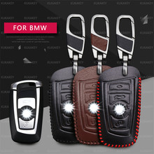 For BMW 5 Keychain Key Cover Genuine Leather Key Case For BMW 5 GT F07 F10 F11 520 525 520I 530D E34 E60 E70 2 Button Remote Key(China)