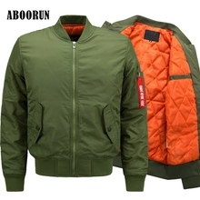 ABOORUN 6XL 7XL 8XL BIG SIZE Bomber Jacket Men's Fashion Thick Winter Military Jackets Flight Ma-1 Pilot Air Force Coat W2083(China)