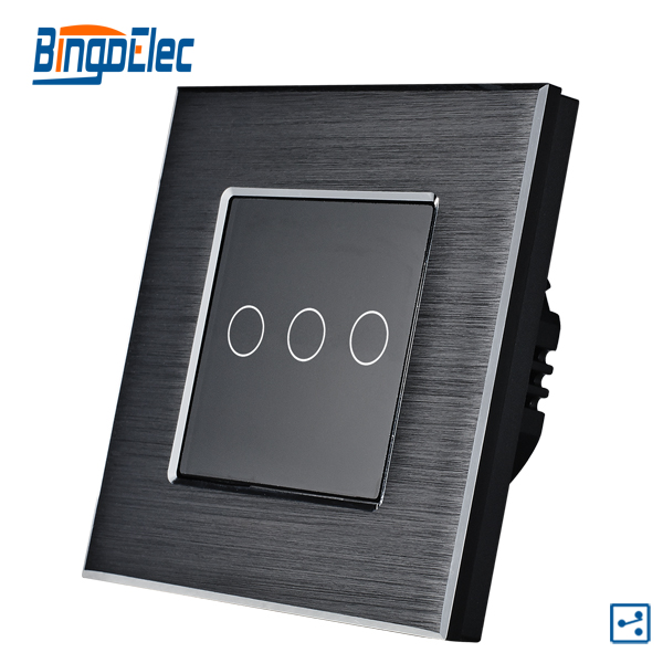 3gang 2way black aluminum and glass panel touch 3buttons switch <br><br>Aliexpress