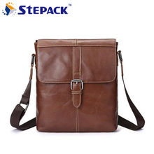2017 New Brand Men Messenger Bag Antique Nubuck Genine Cow Leather Bags Business Vertical Section Hasp Open Retro Shoulder Bag(China)