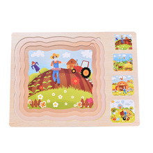 3 layers classic early education toys wooden puzzles multilayer three-dimensional puzzle farm children's toys