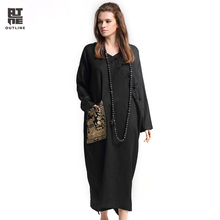 Outline Women Loose Dress Vintage Linen V-neck Full Sleeve With Chinese Embroidery Button Woman Mid-Calf Plus Size DressL171Y002