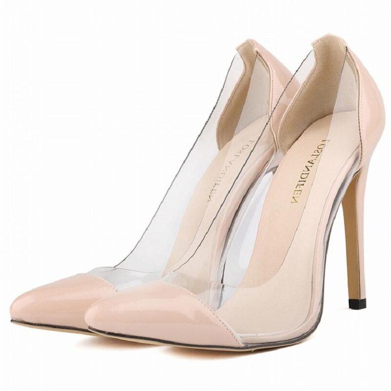 red black ivory pink women patent leather crystal pvc plastick transparent pumps career work dress wedding shoes plus sze 35-42<br><br>Aliexpress