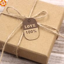 100PCS DIY Kraft Paper Tags Thank You&100% Love Paper Head Label For Handmade Gift/Wedding Note/Home Birthday Party Supplies