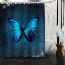 custom Butterfly Shower curtain New farbic Waterproof bathroom curtains More Size(China)