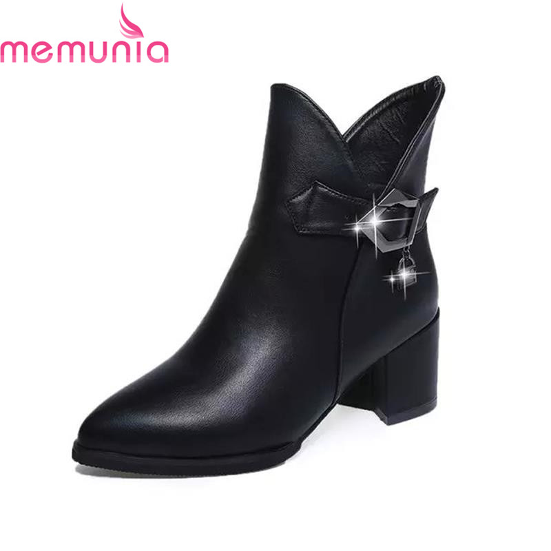 Sexy ladie fashion ankle boots new arrival zip-up buckle pointed toe high square heels autumn spring 2017 hot sale high quality<br><br>Aliexpress