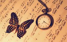 Music Notes Butterfly Watch Clock Warm bokeh 5 Sizes Home Decor Canvas Painting Poster Printing Pictures