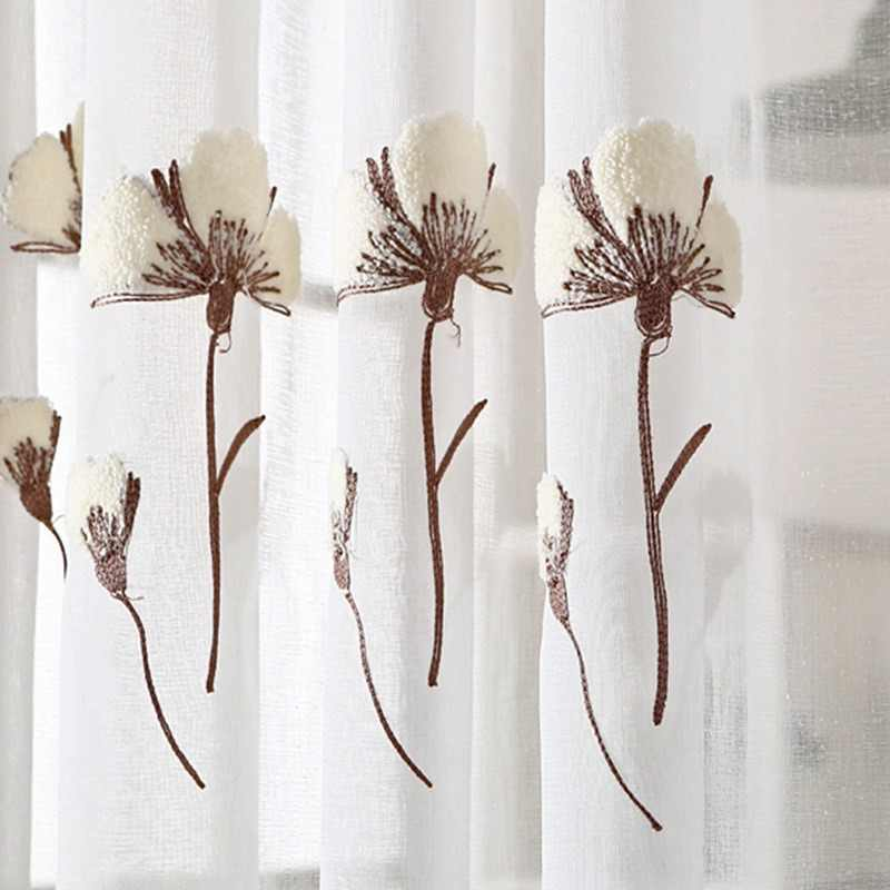 Slow Soul White Modern French Window Pastoral Floral Curtains For Living Room Tulle Kitchen Cotton Bedroom Sheer And Embroidered