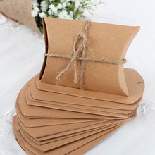50Pieces/lot New Style Kraft Pillow Shape Wedding Favor Gift  Box Party Candy Box Birthday Party Wedding Decoration