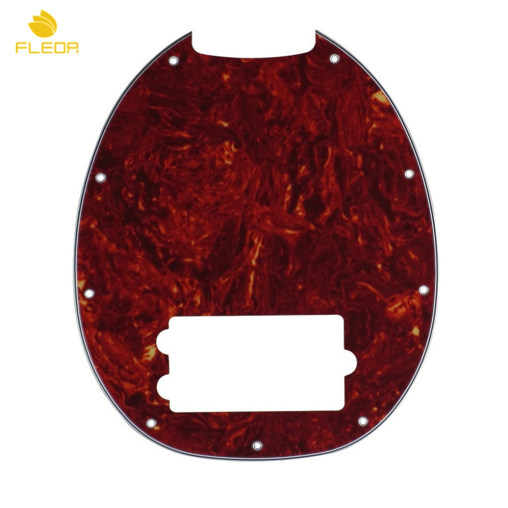 FLEOR Red Tortoise 4 Strings Music Man Bass Pickguard Humbucker Anti-Scratch Plate 4Ply 9 Holes(China (Mainland))