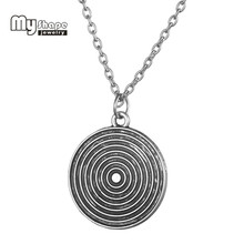 my shape Antique Silver Plated Target Round Charms Disc Pendant New Hot Manual chain Statement Choker Necklace Woman Jewelry(China)