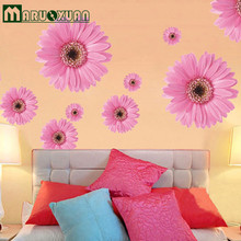 Pink Daisy Wall Stickers Three Generations Of Removable PVC Transparent Film Wallpaper Factory Outlets