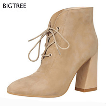 2017 BIGTREE Fashion Boots Women New Spring Ankle  Boots Design PU Leather Pointed Toe Lace Up Lsdy High Heel Shoes 48 TXJ