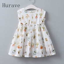 Hurave 2017 New Children Party Dress Girls rabbits Printing  Bow Baby Girls Dresses Cute Kids Clothing 3-8year Childrens Clothes