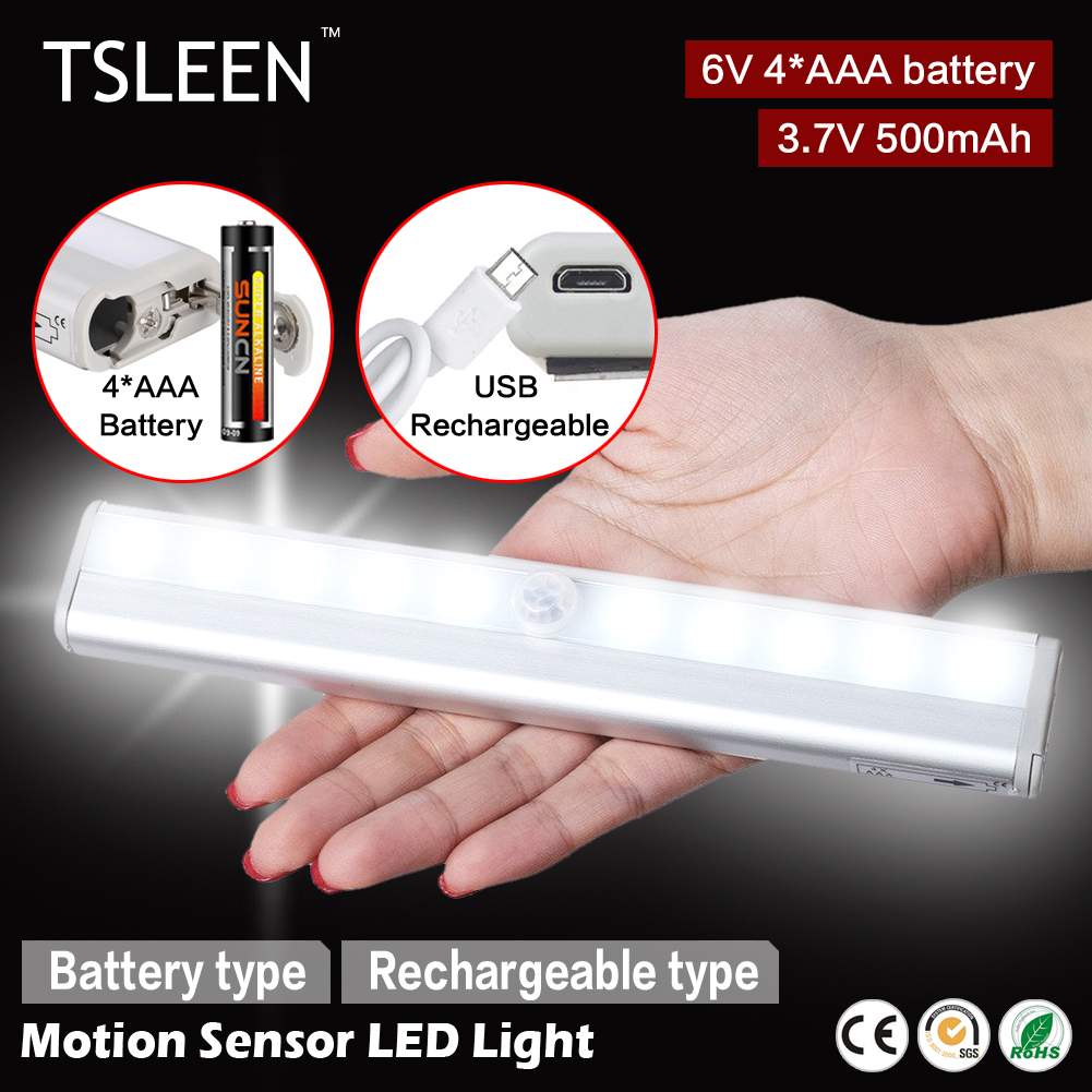 TSLEEN 1x cabinet pir motion sensor led cupboard shed garage light usb/battery powered(China)