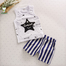 2017 new Girls and Boys Summer Cotton Vest Shorts Set children set baby star shirts and short striped pants  simple ,confortable