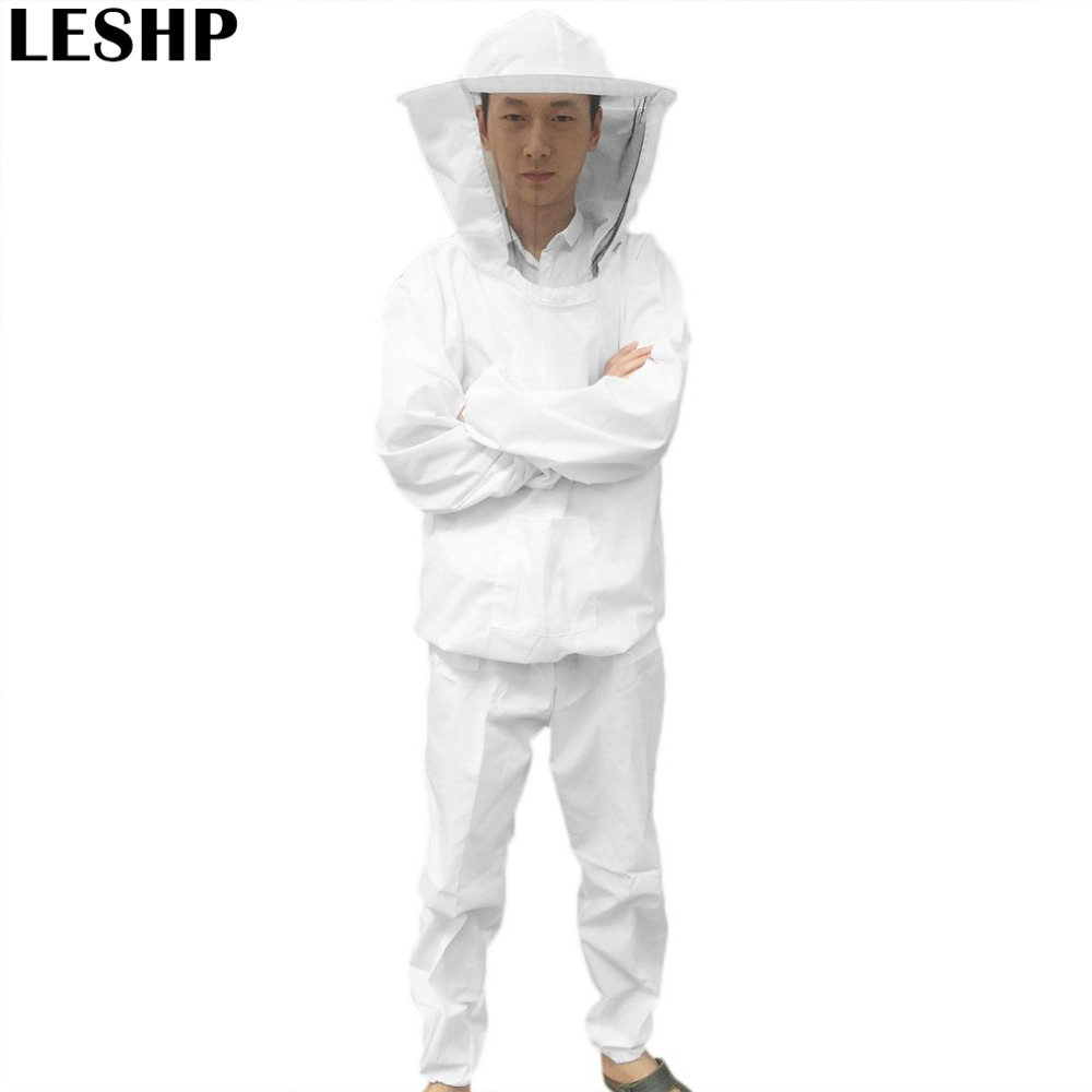 Beekeeping Protective Equipment Veil Bee Keeping FULL BODY Suit Hat Smock S-XXL White Cotton Beekeeping Jacket Utility &amp; Safety<br>