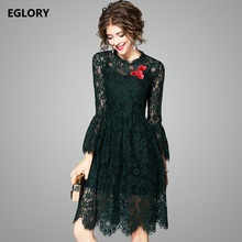 Buy European Party Women 2017 Autumn Dress Hollow Sheer Lace Red Embroidery Flare Sleeve Dark Green Vintage Lace Sexy Dress Robe for $54.92 in AliExpress store