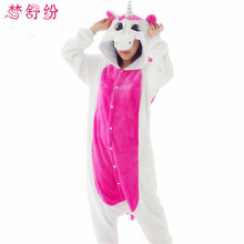 Unisex Flannel Pajamas Sets Unicorn Stitch Panda Cartoon Sleepwear Cos Animal Onesies For WomenMan Adult Pajama Winter