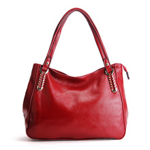 Women European Leisure Hobos Fashion Pure Color Shoulder Bags Lady High Quality Cow Leather Handbag Versatile Valentine Tote Bag(China)
