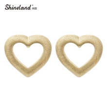 Shineland 2016 Simple Classic Design Hollow Love Heart Drawing Gold Silver Plated Stud Earrings For Women Jewelry11.11 Promotion