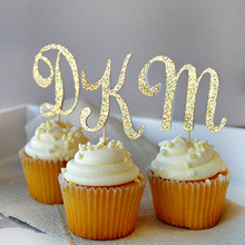 Personalized Gold Glitter Letter Party Cupcake cake topper picks for kids birthday party Baby Shower Decoration wedding Supplies