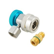 Car Air Conditioner R134a Adjustable Quick Coupler Connector Adapter Blue+Silver