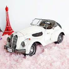 White Metal Car Model 1:12 Antique Cars Models for Home Bar Coffee Decoration