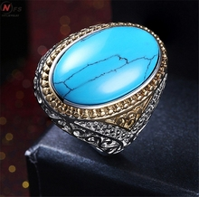 NFS Men's Women's Natural Oval Turquoises Black Onyx White Gold Ring Wholesale Jewelry Big Woman Egg Shape Ring