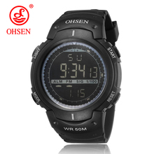 Ohsen Men Sports Military Watches LED Digital Man Brand Watch 5ATM Dive Swim Dress Fashion Outdoor Waterproof Boys Wristwatches(China)