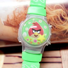 100Pcs/Lot Wholesale Lovely Kids' Waterball Cartoon Watches With Flashing Lights Silicone Children LED Wristwatch With Calendar