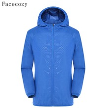Facecozy Loves Summer Outdoor Camping Jacket Women Solid Quick Dry Hooded Anti UV Ultralight Fishing Coat Men(China)