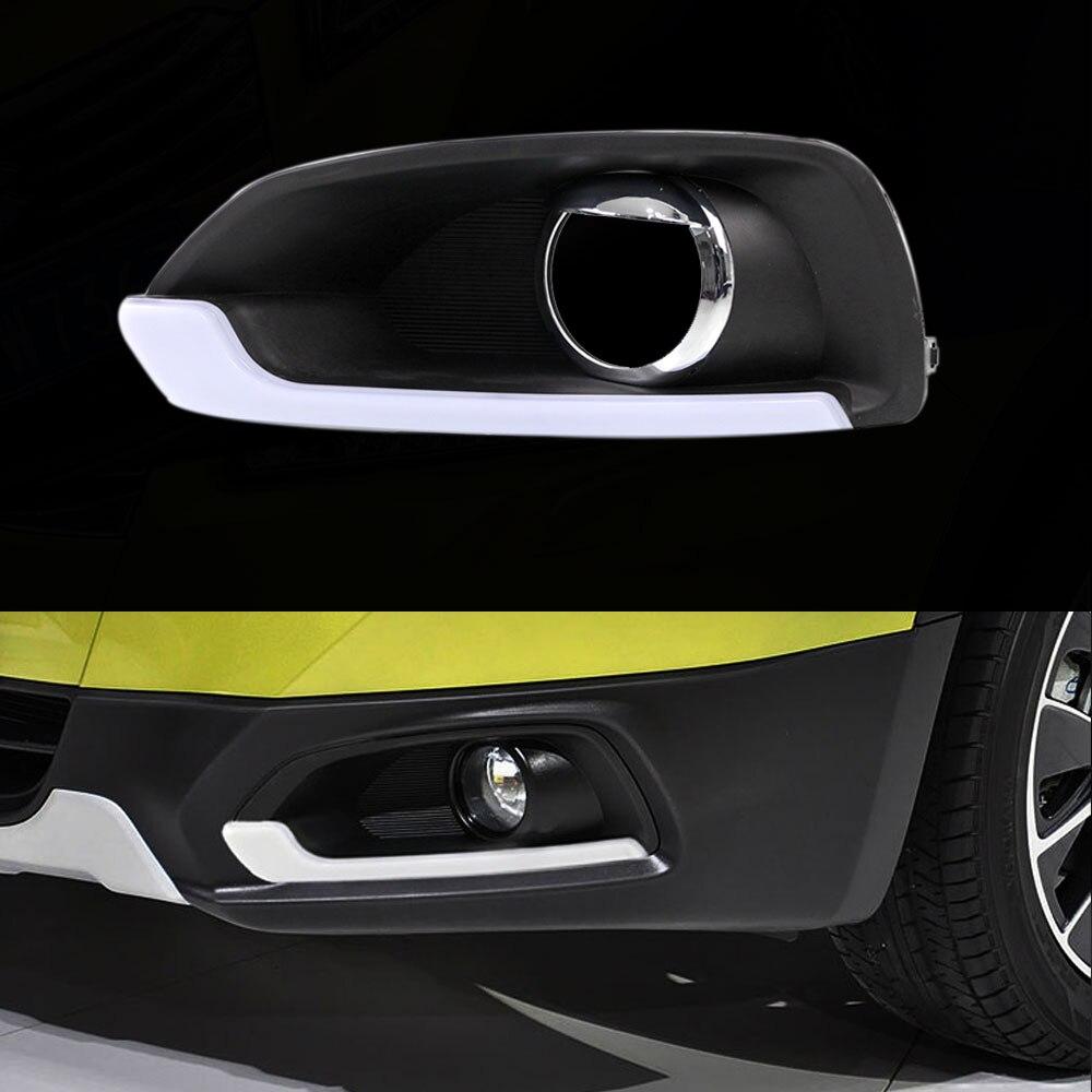 Daytime Running Light DRL  for Suzuki S-Cross 2014 2015 2016 Left and Right Fog Light Chrome Cover White DRL <br>