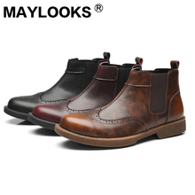 Men's Boots Martin Boots 가죽 패션 조각 된 Men's 첼시 Boots A5820(China)