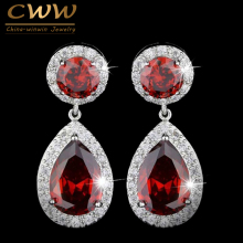 CWWZircons Brand Classic Red Purple Green 2.8 Carat Large CZ Crystal Long Drop Earrings For Women Fashion Zirconia Jewelry CZ014(China)