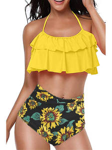 Swimwear-Set Bikini Push-Up HALTER Beach-Printed High-Waist Plus-Size Women Sexy Backless
