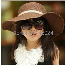 (7 Colors for choose )2015 Hot children's Straw hat Flower girl cap Baby girl summer hat Girl sun hat Beach visor hat