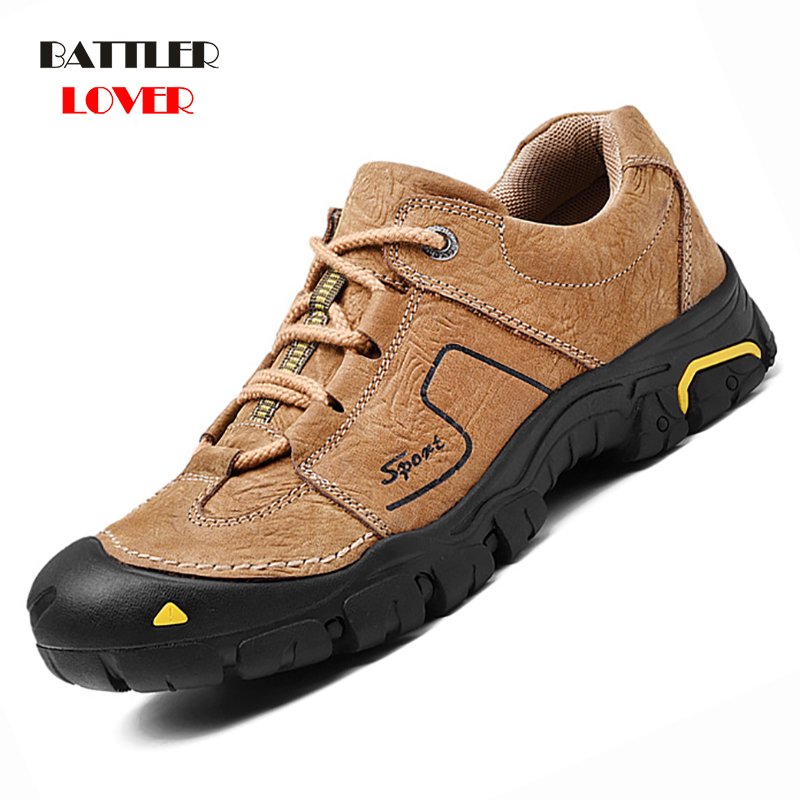 Genuine Leather Men Shoes Casual Waterproof On Foot Outdoor Rubber Lace-up Oxfords Walking Boat Shoe Loafers Moccasins Flats Man