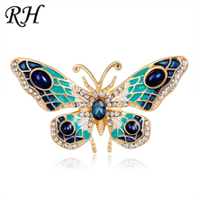Vintage Metal Crystal Butterfly Brooch For Women Collar Pins Corsage Decoration Animal Brooch Badges Jewelry Accessories(China)