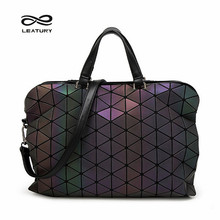 Leatury Brand Noctilucent Women Briefcase Bag 2016 Fashion handbag Designer Geometric Plaid Shoulder&Cross body bag Lattice