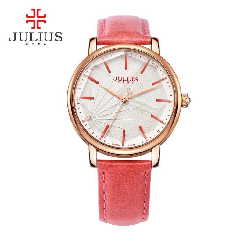 Julius Ladies Rose Gold Watches Diamond Girl Women Bracelet Watch Casual Leather Quartz Waterproof Wristwatch JA-888 reloj mujer<br><br>Aliexpress