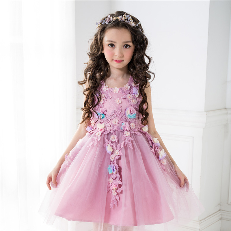 Princess Girl Dresses for Wedding and Party 2017 Brand Kids Costume Purple Sleeveless Floral Robe Mariage for Girls<br>