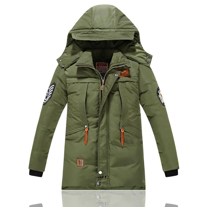 -30 Degree Childrens Jackets for Boys Cotton-padded Warm Winter Boys Down Coat Thickening Hooded Kids Outerwear 6-15 Year<br>