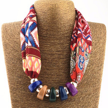 2017 New Hot Women Printed Silk Scarves Necklace resin beads Neckerchief Chiffon Scarves Ring Silk Muffler Six Color