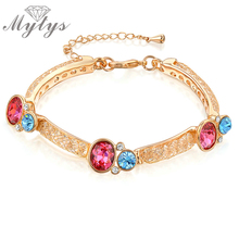 Mytys Mesh Bracelet Gold Red/Blue Crystal Cubic Zirconia Gem Bangle Bracelet Rose GP B836(China)