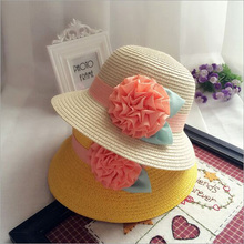 Elegant Girls Summer Straw Hats Floral Shape Child Straw Caps Kids Beach Sun Protection Hats Size 52cm For 3-7 Year Old HT52046