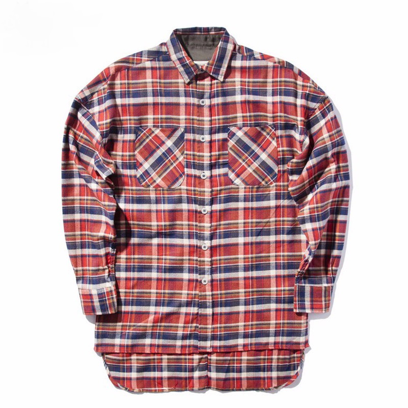 HZIJUE New bieber flannel Scotland grid long sleeve shirts Hip hop extended curved hem oversized Men Cotton shirt