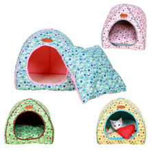 Cat bed Dog House for Small Dogs Princess Pet Sleeping Bag Warm Soft Teddy Yorkie Kennel Pyramid Shape For Autumn Winter Spring(China)